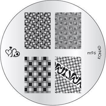 KONAD Форма печатная (диск с рисунками) / image plate M96 10грСтемпинг<br>Диск для стемпинга Конад М96 с нежными сердечками, узорами из стильной клетки во всем разнообразии. Несколько видов изображений, с помощью которых вы сможете создать великолепные рисунки на ногтях, которые очень сложно создать вручную. Активные ингредиенты: сталь. Способ применения: нанесите специальный лак&amp;nbsp;на рисунок, снимите излишки скрайпером, перенесите рисунок сначала на штампик, а затем на ноготь и Ваш дизайн готов! Не переставайте удивлять себя и близких красотой и оригинальностью своего маникюра!<br>