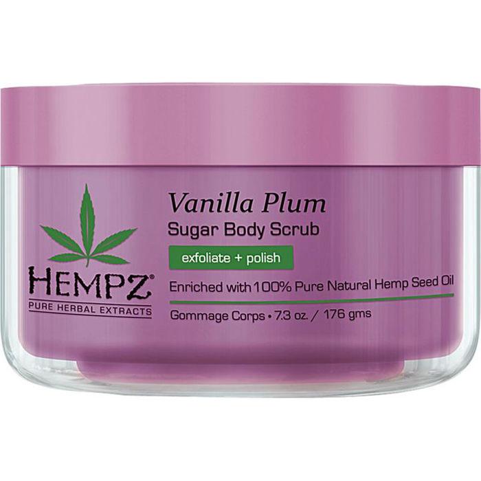 HEMPZ Скраб для тела Ваниль и слива / Vanilla Plum Herbal Sugar Body Scrub 176грСкрабы<br>100% чистые натуральные масла из семян конопли, нежно очищает и питает кожу, обеспечивает увлажнение, питание и кондиционирование. Делает кожу мягкой, гладкой и эластичной. Смесь эфирного масла с маслом семян жожоба, подсолнечное масло и Алоэ Вера помогают восстановить кожу. Без парабенов, без глютена. Масло сливы обогащает кожу кислородом, питает и успокаивает кожу, делая ее более мягкой, гладкой и упругой.  Активные ингредиенты: Чистое масло и экстракт семян конопли, кожура семян конопли, масло подсолнуха, экстракт алое вера, масло жожоба, масло сливы.  Способ применения: На влажную или сухую кожу нанести небольшое количество скраба массирующими движениями, равномерно распределив по всей поверхности тела до полного растворения кристаллов сахара. Смыть водой.<br>