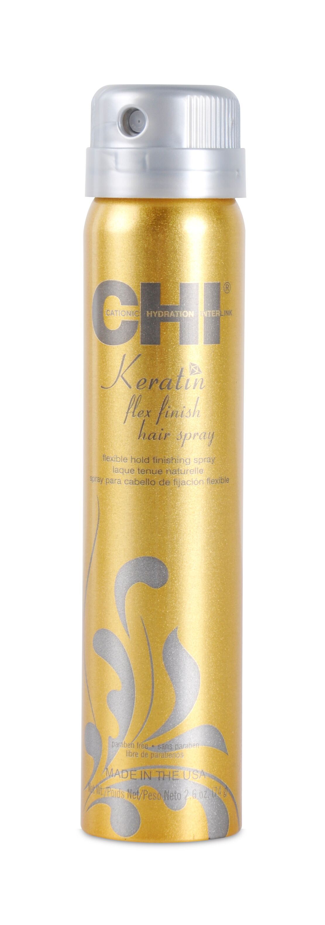 CHI Лак для волос сильной фиксации с кератином 74 грЛаки<br>Укрепляет, разглаживает и уменьшает ломкость структуры волоса. Делает их плотными и гладкими. Подвижная сильная степень фиксации. Активные ингредиенты: гидролизованный шёлк, масло Арганы, масло Жожоба, запатентованный комплекс Keratrix, молекулы семян рожкового дерева<br>