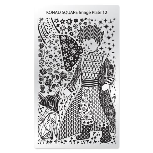 KONAD Пластина прямоугольная / Square Image Plate12 30грСтемпинг<br>Пластина для стемпинга Конад Square Plate 12 с изображением маленького принца с лисом, который покорит сердца всех любительниц маникюра своими сказочными узорами, розами и звездами. Пластины для стемпинга также называют плитками. На них Вы найдете гораздо больше рисунков для ногтей, чем на обычных дисках. Вы можете наносить рисунок как вам вздумается, отлично подойдет как для коротких, так для длинных и широких ногтей и для педикюра Активные ингредиенты: сталь Способ применения: нанесите специальный лак&amp;nbsp;на рисунок, снимите излишки скрайпером, перенесите рисунок сначала на штампик, а затем на ноготь и Ваш дизайн готов! Не переставайте удивлять себя и близких красотой и оригинальностью своего маникюра!<br>