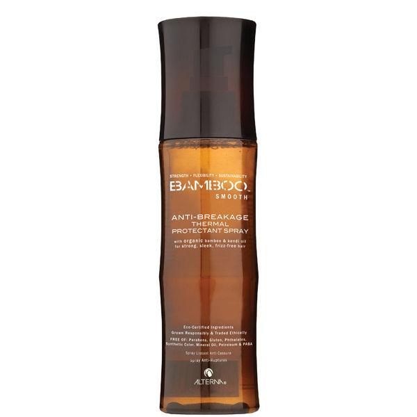 ALTERNA Спрей термозащитный для волос / BAMBOO SMOOTH 125млСпреи<br>Термозащитный спрей для волос с исключительно высоким уровнем защиты до 220&amp;deg;C. Обеспечивает максимальную защиту от поломки при горячей укладке. Ваши волосы будут не только восстановлены, но и надежно защищены как внутри, так и снаружи.   Для достижения идеальной формулы увлажнения, а также для создания здоровых волос воссоединились компоненты: органический экстракт бамбука и Органическое масло Кенди.  &amp;bull; Органический экстракт бамбука Organic Bamboo Extract: Незамедлительно возвращает волосам их внутреннюю силу, гибкость, устойчивость и здоровье.    Органическое масло Кенди Organic Kendi Oil: Восстанавливает волосы и сохраняет их липидный слой. Защищает волосы от будущих повреждений и насыщает незаменимыми жирными кислотами (Омега 3,6,9) и антиоксидантами.    Защита цвета Color Hold&amp;reg;: Комплексная защита цвета является характерным достоинством для всех продуктов Alterna. Вся продукция обеспечивает высочайший уровень защиты цвета вследствие негативного воздействия UVA и UVB, также включает защиту от искусственных источников света(солярий, и др.). Все для Вашей красоты: Все продукты Alterna содержат органические ингредиенты, ответственно выращенные в целях изготовления продукции. Не содержат: парабенов, глютенов, хлорида натрия, флататов и синтетических красителей. При этом производство не наносит вред окружающей среде. Не тестируется на животных.    Клинически доказано: ломкость волос уменьшается на 87%.    Имеет один из самых высоких уровней защиты от перегрева - защищает при температуре до 220 С.    Восстанавливает волосы и помогает предотвратить повреждения, вызванные высокой температурой при горячей укладки, а также вызванные агрессивными химикатами.    Смягчает и увлажняет волосы, устраняя сухость и ломкость. Укрепляет волосы естественным путем. Волосы увеличивают свою силу и эластичность.    Образует защитный барьер вокруг наружного слоя волоса, для предотвращения ломкости