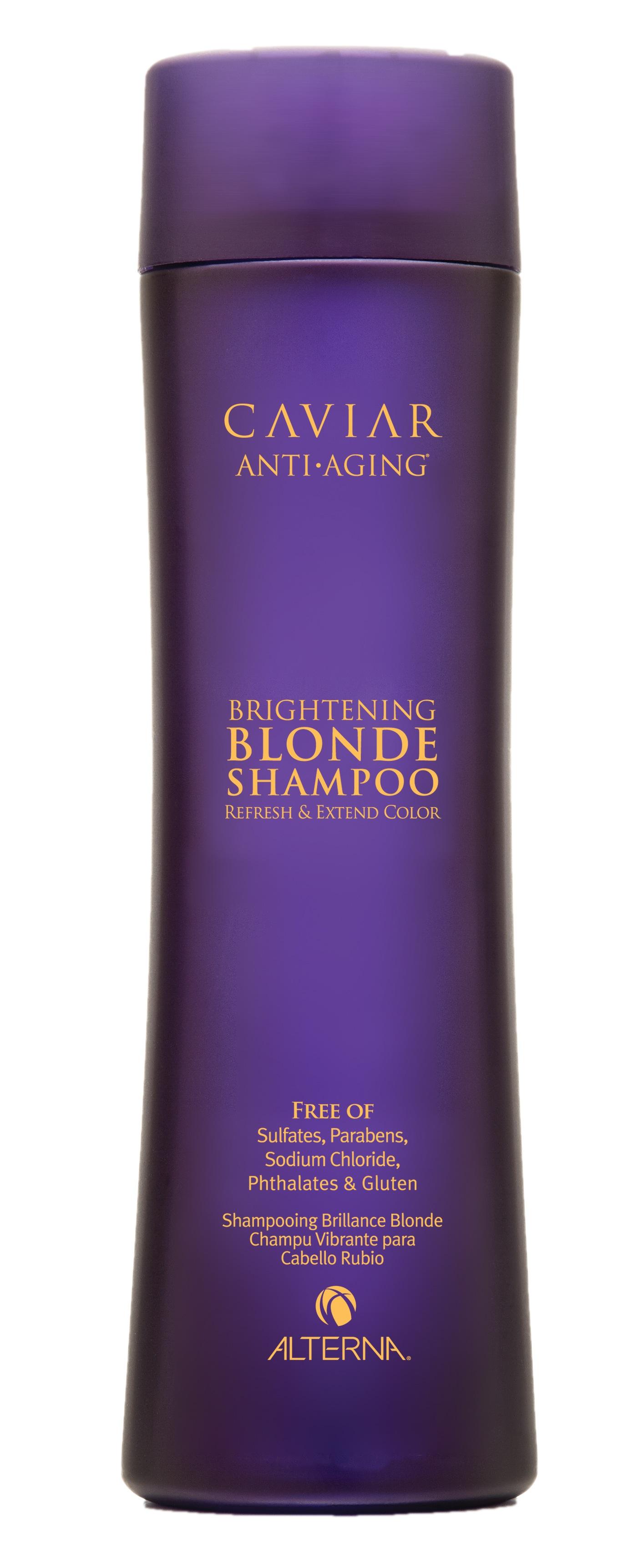 ALTERNA Шампунь с морским шелком для светлых волос / CAVIAR BLONDE 250млШампуни<br>Мягкий шампунь, не содержащий агрессивных сульфатов, на основе запатентованной формулы Caviar anti-aging seasilk предназначен для деликатного очищения волос светлых тонов. Освежает и оживляет оттенки, придавая волосам равномерное сияние. Усиливает оптическое проявление мелирования, помогает нейтрализовать желтизну, насыщая блеском обесцвеченные, осветленные волосы. Обеспечивает защиту цвета, борется с видимыми признаками старения, усиливает сопротивляемость поврежденных, хрупких волос агрессивным внешним и внутренним воздействиям. Активные ингредиенты: морской шелк. Способ применения: нанесите Шампунь с морским шелком для светлых волос на влажные волосы, вспеньте. Выдержите пену на волосах 3 5 мин. Тщательно смойте водой, при необходимости повторите процедуру. Для лучшего результата используйте Caviar Anti-aging Brightening Blonde Conditioner.<br>