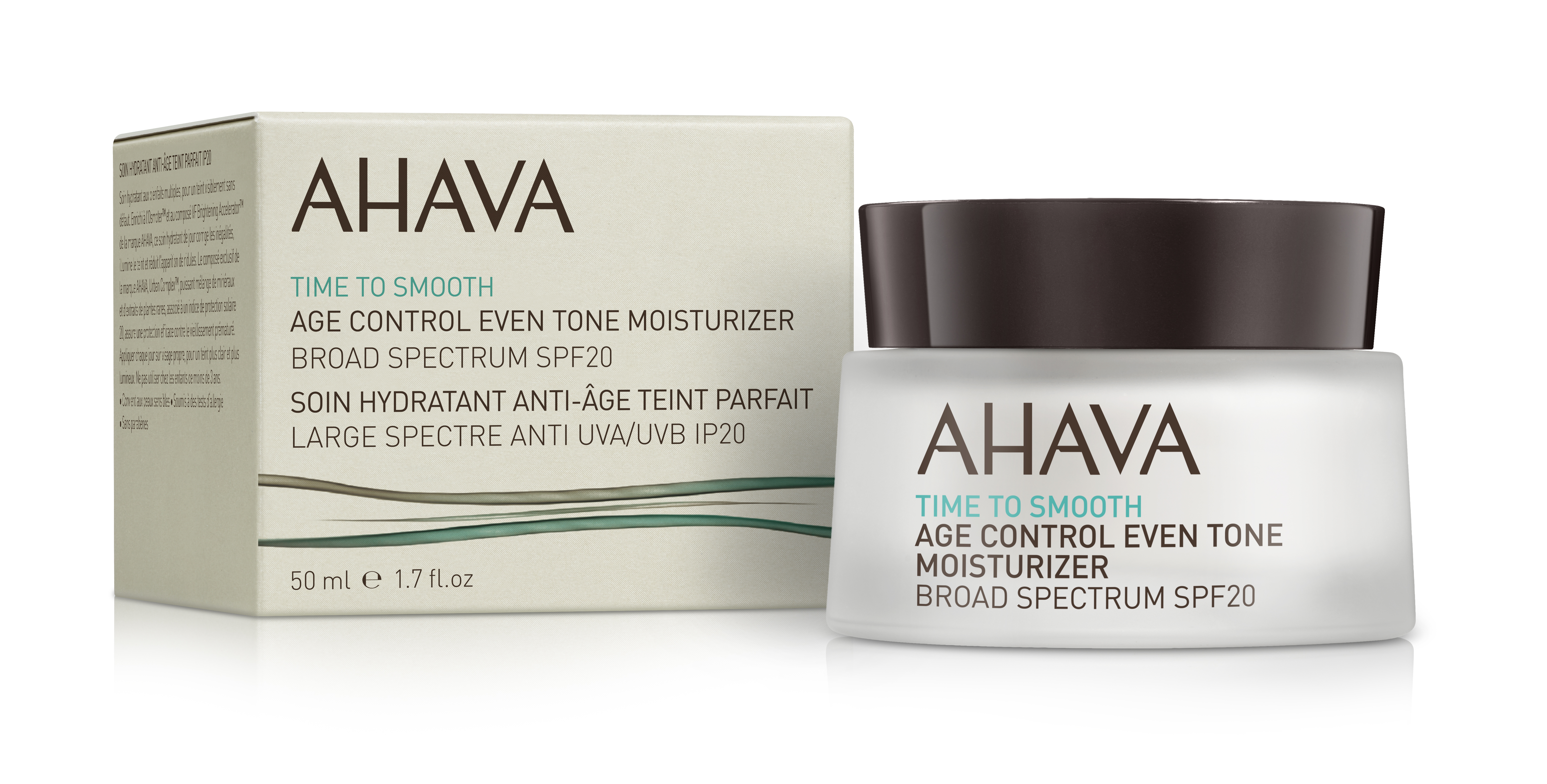 AHAVA Крем увлажняющий, ровный тон и профилактика старения SPF 20 / Time To Smooth 50 мл -  Кремы