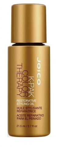 JOICO Масло восстанавливающее стайлинговое / K-PAK 21,5 млМасла<br>Удерживает цвет и питает, восстанавливает внешние слои кутикулы. Защищает от воздействия УФ-лучей и термических воздействий. Придает интенсивный блеск, устраняет пушащиеся волосы, сокращает время сушки. Способ применения: от   до 2 капель разотрите между ладонями. Нанесите на влажные и/или сухие волосы, начиная от концов и двигаясь наверх. Избегайте прикорневой зоны.<br><br>Типы волос: Окрашенные<br>Назначение: Секущиеся кончики