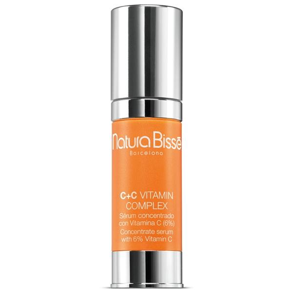 NATURA BISSE Комплекс с витаминами / Complex C+C VITAMIN 30млКонцентраты<br>C+C Vitamin Complex   это сильнодействующее средство для домашнего применения, содержащее максимальную концентрацию витамина С, для эффективного восстановления упругости и эластичности кожи. В данном комплексе витамин С содержится в виде жидкой смеси 3% водорастворимой аскорбиновой кислоты и 3% аскорбил-пальмитата, что обеспечивает 6% концентрацию чистого витамина С. Двойная концентрация витамина С стимулирует продукцию коллагена и защищает существующий коллаген кожи. Натуральные коллагеновые аминокислоты, также входящие в состав комплекса, восстанавливают упругость и гидратацию кожи. Добавление витамина Е способствует повышению антиоксидантной активности витамина С. Комплекс подходит для всех типов кожи. Концентрированная форма препарата обеспечивает глубокое проникновение и абсорбцию тканями. Нейтрализует действие свободных радикалов. Стимулирует синтез коллагена и репаративные процессы. Защищает кожу. Увлажняет, восстанавливает упругость и эластичность. Эффективно абсорбируется тканями. Активные ингредиенты (состав): Water (Aqua), Sodium Ascorbyl Phosphat, Sodium Acrylates Copolymer, Propanediol, Glycerin, Hydrogenated Polyisobutene, Rosa Canina Fruit Oil, Hydrolyzed Opuntia Ficus-Indica Flower Extract, Citric Acid, Tocopheryl Acetate, Anogeissus Leiocarpus Bark Extract, Helianthus Annuus (Sunflower) Seed Oil, Hydrolyzed Collagen, Sodium Chondroitin Sulfate, Prunus Amygdalus Dulcis (Sweet Almond) Oil, Phospholipids, Polyglyceryl-10 Stearate, Ethylhexylglycerin, Polysorbate 60, Sorbitan Stearate, Disodium EDTA, Tocopherol, Potassium Sorbate, Phenoxyethanol, Methylisothiazolinone, Fragrance (Parfum), Limonene, Linalool, Citrus Nobilis (Mandarin Orange) Oil, Citrus Aurantium Dulcis (Orange) Oil, Amyl Cinnamal, Yellow 5 (CI 19140). Способ применения: рекомендуется использовать 3 раза в неделю (вечером) в течение 6 недель. Наносить на предварительно очищенную кожу, массировать до полного впиты