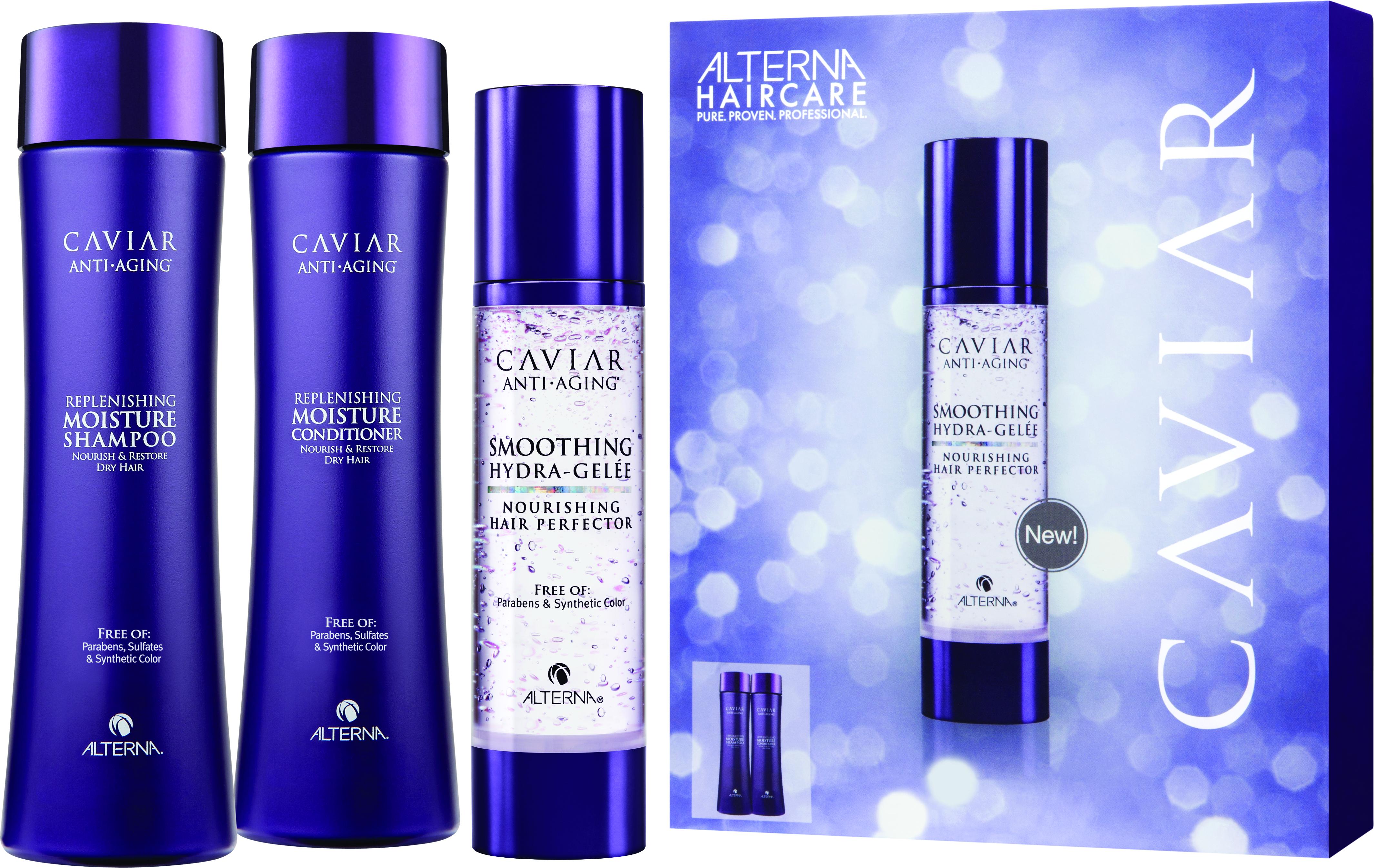 ALTERNA Набор для разглаживания и увлажнения волос: шампунь увлажняющий, кондиционер увлажняющий, гель-идеализатор / Smoothing Hydra-Gelee Starter Kit CAVIAR