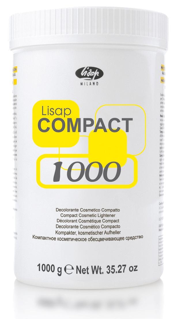 LISAP MILANO Пудра осветляющая для сильного осветления волос без образования пыли / Lisap Compact 1000грПудры<br>Компактное косметическое обесцвечивающее средство Compact Lisap подходит для всех способов обесцвечивания: балаяжа, мелирования, особых эффектов. Максимальная безопасность при применении. Невероятные результаты. Lisap Compact   это идеальное в применении средство, т. к. не образует пыли при смешивании, а благодаря своей кремообразной консистенции обеспечивает быстрое сильное обесцвечивание. Способ применения: осветляющая способность до 6 уровней. При смешивании с окисляющей эмульсией Developer или Developer Special Blue следует использовать индивидуальные пропорции, в зависимости от вида работ и типа волоса: 6 vol. 10 vol. 20 vol. 30 vol.   в пропорции 1:1; 1:1,5 и 1:2. Время выдержки до 40 минут. Не рекомендуется наносить осветляющие составы после мытья головы. Общие правила нанесения порошков: Осветление натуральных волос. Смешиваем порошок с выбранным окислителем в неметаллической посуде в пропорции 1:2. Щедро наносим рабочую смесь на волосы, прядь за прядью, по всей длине от кончиков до корней. Выдерживаем до получения требуемого результата - 20-35 минут. Смываем большим количеством воды с использованием кислого технического шампуня Phase 2 и бальзама Phase 3; Осветление отросших корней. Через 3-5 недель после первого осветления у клиента отрастают корни, которые имеют натуральный цвет и хорошо заметны на осветлённом волосе. Для их осветления необходимо смешать порошок с выбранным окислителем в неметаллической посуде в пропорции 1:2. Нанести рабочую смесь на отросшие корни. Не допускать попадания смеси на уже осветлённую часть волос. Выдерживаем до получения требуемого результата   20-35 мин. Смываем; Осветление ранее окрашенных волос. Готовим рабочую смесь порошка с окислителем с повышенным процентом (9 или 12%). Окрашенные волосы на концах и по длине более  забиты  красящим пигментом и поэтому требуют более интенсивного осветления. Щедро наносим сме