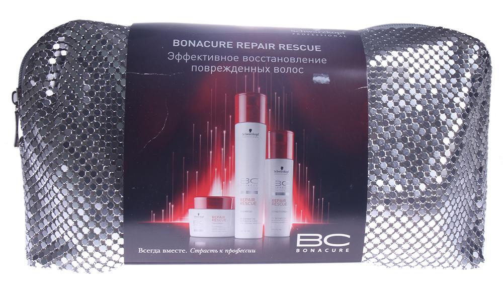 SCHWARZKOPF PROFESSIONAL Набор ВС спасит. восстановлениеНаборы<br>Набор BC Repair Rescue   это грамотно подобранный ухаживающий сет, направленный на глубокое и всестороннее восстановление ослабленных волос. В состав набора BC Repair Rescue входит три продукта, полностью удовлетворяющие потребности поврежденных волос в ежедневном питании, увлажнении и реконструкции. Специалисты немецкого бренда Schwarzkopf Professional создали уникальную технологию клеточного аминного восстановления, которая стала основой для каждого продукта Repair Rescue. Сбалансированное сочетание гидролизата кератина, аминокислот и витаминов воздействует на ослабленные пряди в трех направлениях: восстанавливает поврежденную структуру и разрушенные белковые связи в кортексе, возвращает волосам эластичность и гибкость; сглаживает верхний кутикулярный слой, делая локоны удивительно гладкими и блестящими; повышает естественные защитные функции, наполняет каждый волосок силой и способностью легче переносить ежедневные нагрузки. Набор BC Repair Rescue упакован в элегантную удобную косметичку, которая позволяет с легкостью брать любимые продукты в любую поездку. В наборе: Шампунь BC Repair Rescue Shampoo, 250 мл Кондиционер BC Repair Rescue Conditioner, 200 мл Маска BC Repair Rescue Treatment, 200 мл<br><br>Назначение: Секущиеся кончики