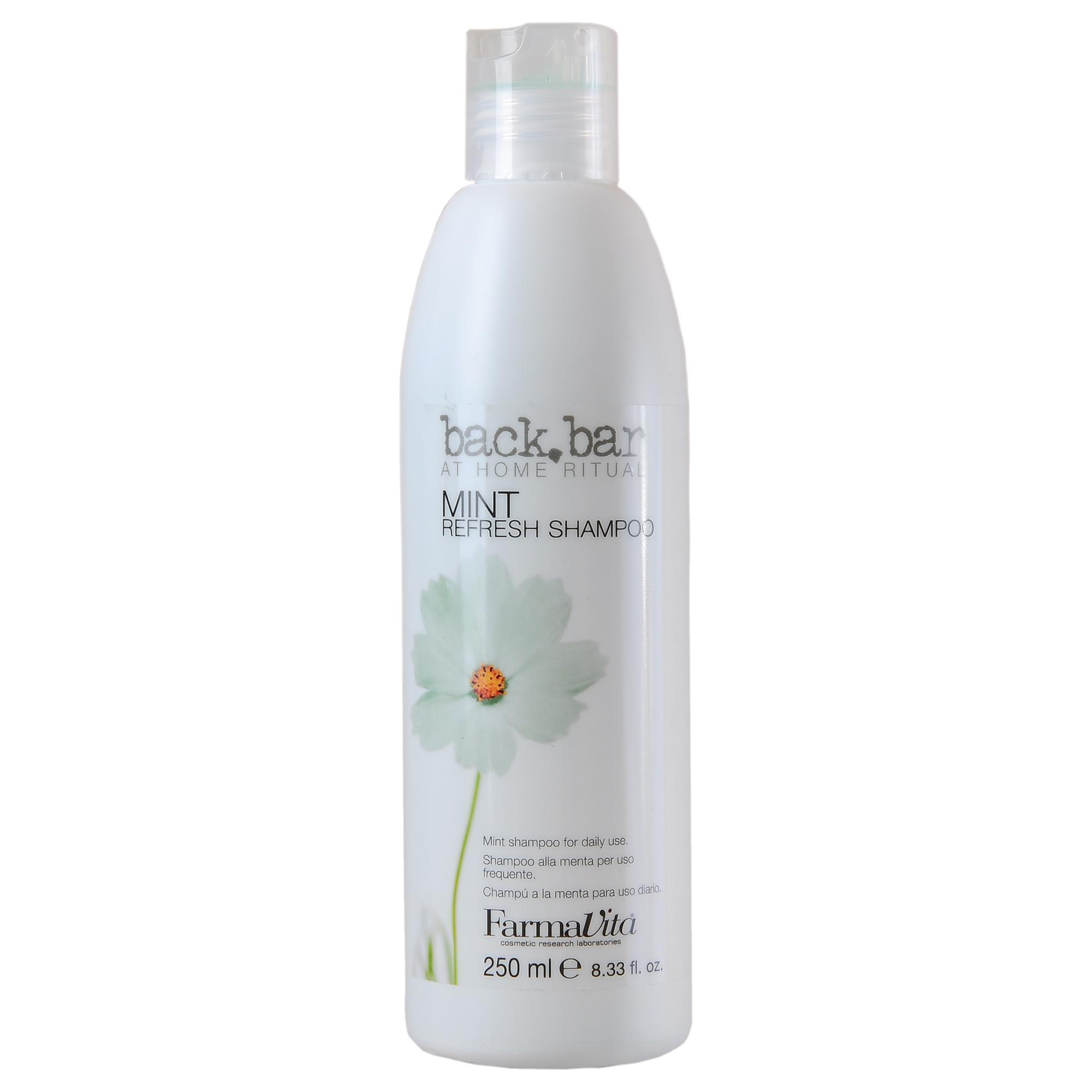 FARMAVITA Шампунь ментоловый Mint Shampoo / BACK BAR 250 млШампуни<br>Ментоловый шампунь Back Bar - профессиональный продукт для использования в салоне. Имеет нейтральный pH. Шампунь для всех типов волос. Подходит для ежедневного использования. Идеально очищает волосы, оптимально подготавливает их для дальнейшей обработки - глубокая очистка перед химическими процедурами (окрашивание волос, завивка, выпрямление и т.д.). Великолепно удаляет излишнее количество укладочных средств. Рекомендуется также для потеющей и жирной кожи головы. Активные ингредиенты: экстракт мяты. Способ применения: нанесите шампунь Back Bar Mint на увлажненную кожу головы. Массирующими движениями распределите шампунь по волосам, затем бережно смойте. При необходимости повторите процедуру. Нанесите подходящее для ваших волос средство для ухода. Рекомендуется использовать перед химическими процедурами, чтобы добиться стабильного результата. Оставьте средство на волосах на 3 минуты перед использованием красок прямого действия, чтобы подготовить волосы к лучшему впитыванию красящих пигментов.<br><br>Объем: 250 мл<br>Тип кожи головы: Жирная<br>Класс косметики: Профессиональная<br>Типы волос: Для всех типов