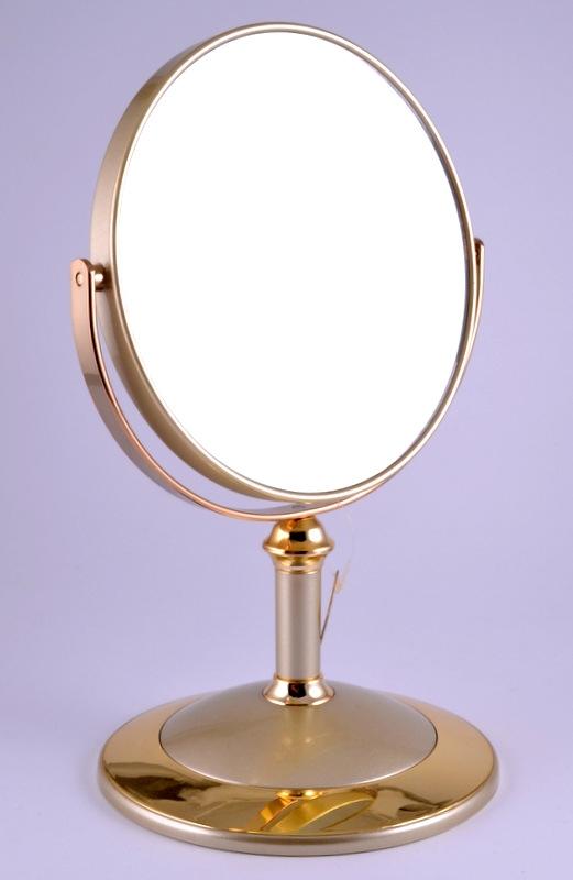"WEISEN Зеркало настольное круглое 2х стороннее 15 см / B6""8021 G5/G Gold"