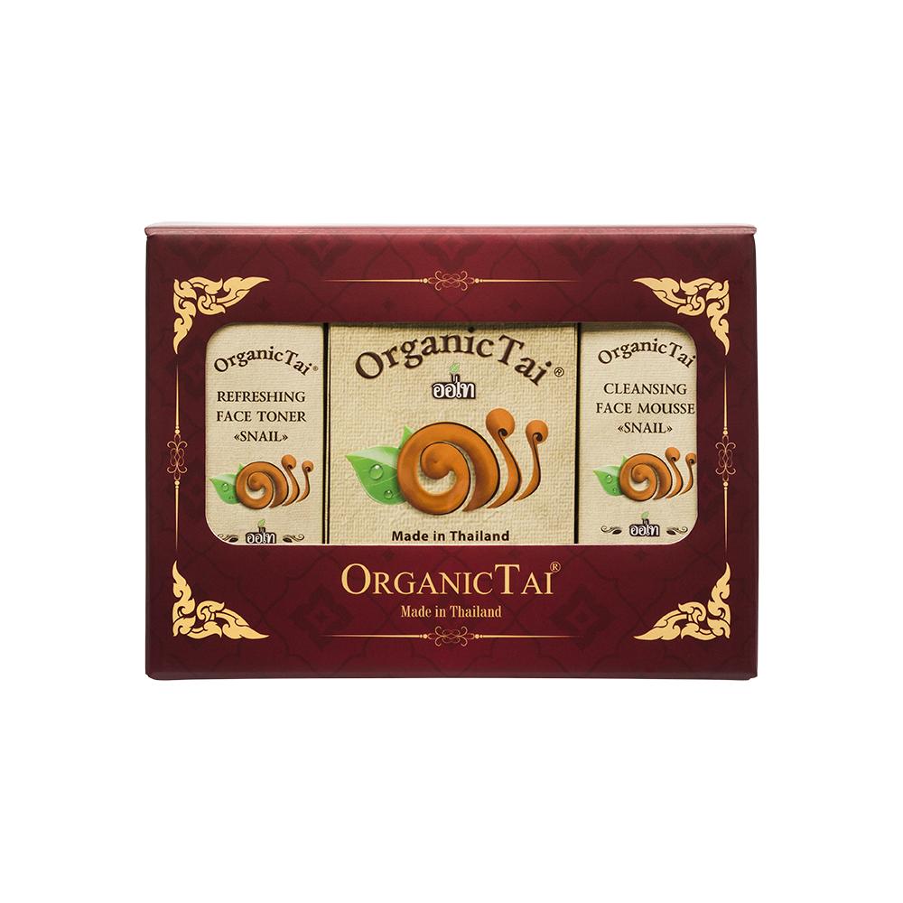 ORGANIC TAI Набор для лица с Экстрактом Улитки (пенка для умывания 60 мл, освежающий тоник 60 мл, маска против морщин 50 мл) OrganicTai -  Наборы