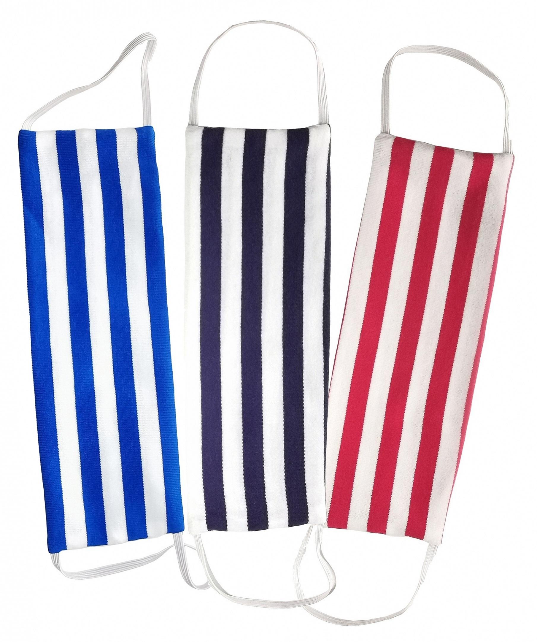 AGLAE MICHON Набор масок декоративных многоразовых с карманом для фильтра (полоска черно-белая, сине-белая, красно-белая) 3 шт