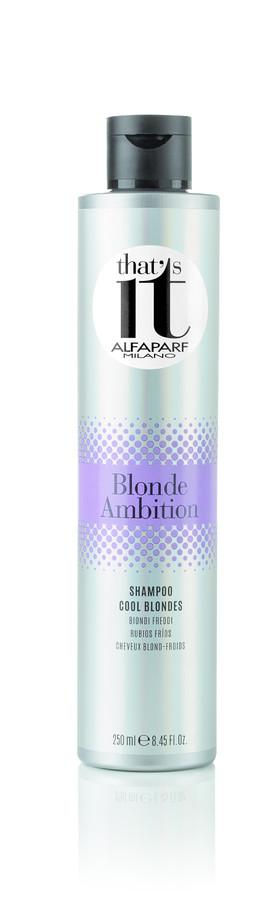 ALFAPARF MILANO Шампунь тонирующий в холодные оттенки цвета блонд / THATS IT BLONDE AMBITION SHAMPOO 250млШампуни<br>Тонирующий шампунь для нейтрализации нежелательных нюансов и поддержания свежести холодных оттенков волос. Усиливает естественный блеск как натуральных, так и окрашенных волос цвета блонд. Специально разработанная формула помогает поддерживать холодные цветовые нюансы. Жемчужные светоотражающие частицы создают безграничную игру цвета, делают волосы максимально блестящими, а входящие в состав церамиды питают и дарят волосам силу. НЕ СОДЕРЖИТ СУЛЬФАТОВ И ПАРАБЕНОВ Способ применения: нанести шампунь массирующими движениями на влажные волосы до образования пены. Тщательно смыть. При необходимости повторить процедуру. Для усиления глубины холодных оттенков оставьте шампунь на волосах на 2-3 минуты. Подходит для частого использования. ВНИМАНИЕ: Данный продукт может окрасить различные поверхности и одежду. Окрашенные продуктом поверхности и одежду необходимо незамедлительно промыть.<br><br>Вид средства для волос: Тонирующий<br>Типы волос: Окрашенные