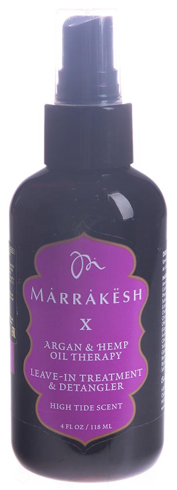 MARRAKESH Спрей-кондиционер несмываемый укрепляющий High Tide (кокос, лайм и вербена)/X Leave-in tre 118 млКондиционеры<br>Линия Higt Tide - изысканное сочетание кокоса, лайма и вербены. Cпрей-кондиционер Marrakeh X содержит восстанавливающую формулу, обогащённую питательными веществами Марокканского арганового масла и ультра укрепляющего конопляного масла, содержит в себе пантенол и растительные экстракты, мгновенно увлажняет и облегчает расчёсывание, одновременно восстанавливая и защищая структуру волос от повреждений. Обеспечивает длительную укладку, предотвращает электризацию волос, придавая в тоже время неповторимый глянцевый блеск вашим волосам. Обладает надежной UV и термо защитой. Способ применения: равномерно распылите небольшое количество спрея на чистые влажные волосы. Расчешите и приступите к укладке.<br><br>Тип: Спрей-кондиционер<br>Объем: 118 мл