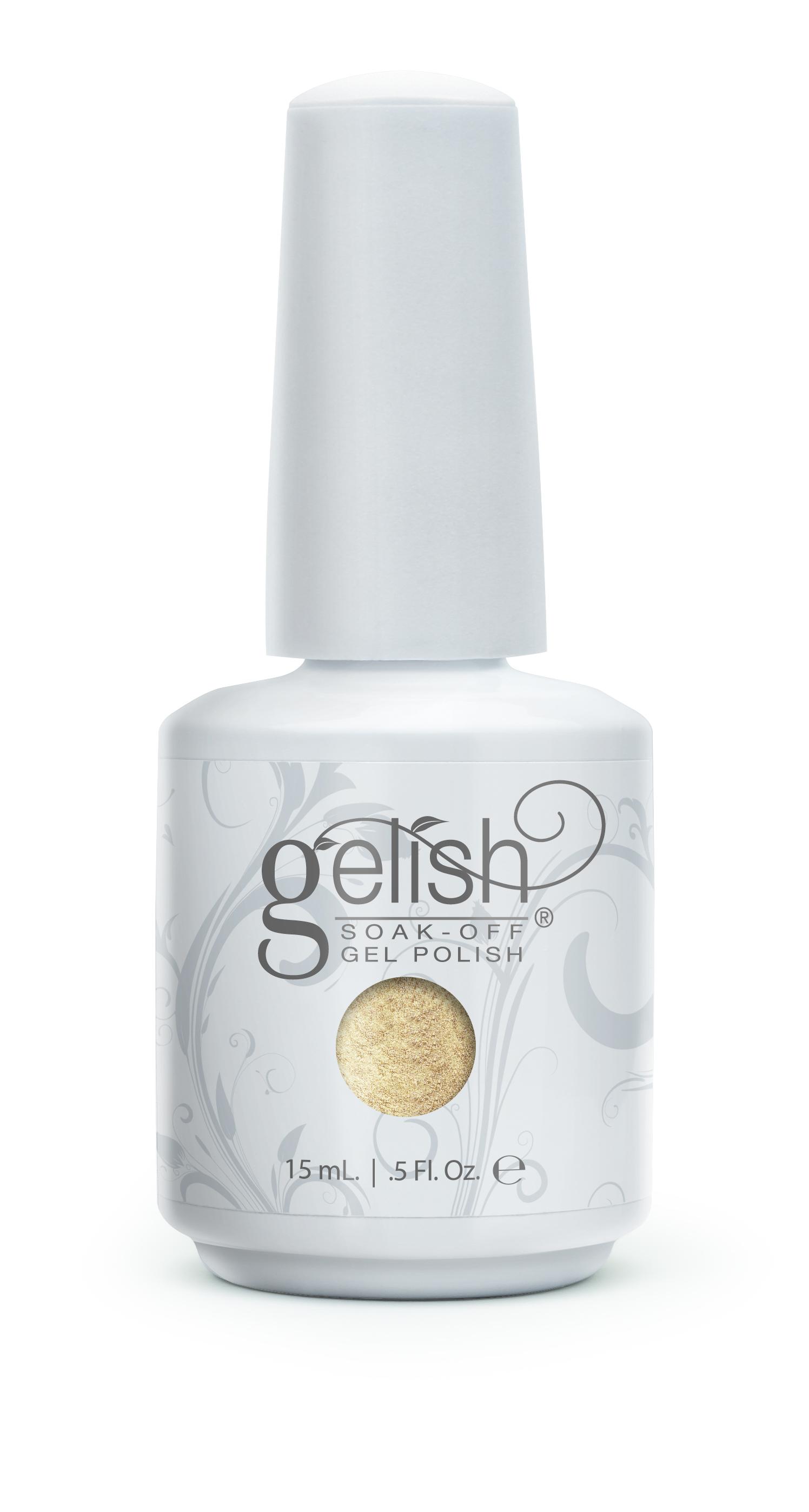 GELISH Гель-лак Give Me Gold / GELISH 15млГель-лаки<br>Гель-лак Gelish наносится на ноготь как лак, с помощью кисточки под колпачком. Процедура нанесения схожа с&amp;nbsp;нанесением обычного цветного покрытия. Все гель-лаки Harmony Gelish выполняют функцию еще и укрепляющего геля, делая ногти более прочными и длинными. Ногти клиента находятся под защитой гель-лака, они не ломаются и не расслаиваются. Гель-лаки Gelish после сушки в LED или УФ лампах держатся на натуральных ногтях рук до 3 недель, а на ногтях ног до 5 недель. Способ применения: Подготовительный этап. Для начала нужно сделать маникюр. В зависимости от ваших предпочтений это может быть европейский, классический обрезной, СПА или аппаратный маникюр. Главное, сдвинуть кутикулу с ногтевого ложа и удалить ороговевшие участки кожи вокруг ногтей. Особенностью этой системы является то, что перед нанесением базового слоя необходимо обработать ноготь шлифовочным бафом Harmony Buffer 100/180 грит, для того, чтобы снять глянец. Это поможет улучшить сцепку покрытия с ногтем. Пыль, которая осталась после опила, излишки жира и влаги удаляются с помощью обезжиривателя Бондер / GELISH pH Bond 15&amp;nbsp;мл или любого другого дегитратора. Нанесение искусственного покрытия Harmony.&amp;nbsp; После того, как подготовительные процедуры завершены, можно приступать непосредственно к нанесению искусственного покрытия Harmony Gelish. Как и все гелевые лаки, продукцию этого бренда необходимо полимеризовать в лампе. Гель-лаки Gelish сохнут (полимеризуются) под LED или УФ лампой. Время полимеризации: В LED лампе 18G/6G = 30 секунд В LED лампе Gelish Mini Pro = 45 секунд В УФ лампах 36 Вт = 120 секунд В УФ лампе Harmony Mini Portable UV Light = 180 секунд ПРИМЕЧАНИЕ: подвергать полимеризации необходимо каждый слой гель-лакового покрытия! 1)Первым наносится тонкий слой базового покрытия Gelish Foundation Soak Off Base Gel 15 мл. 2)Следующий шаг   нанесение цветного гель-лака Harmony Gelish.&amp;nbsp; 3)Заключительный этап Нанесени