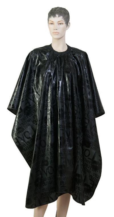 DEWAL PROFESSIONAL Пеньюар для стрижки Love, нейлон, на крючках, черный 138х150 см