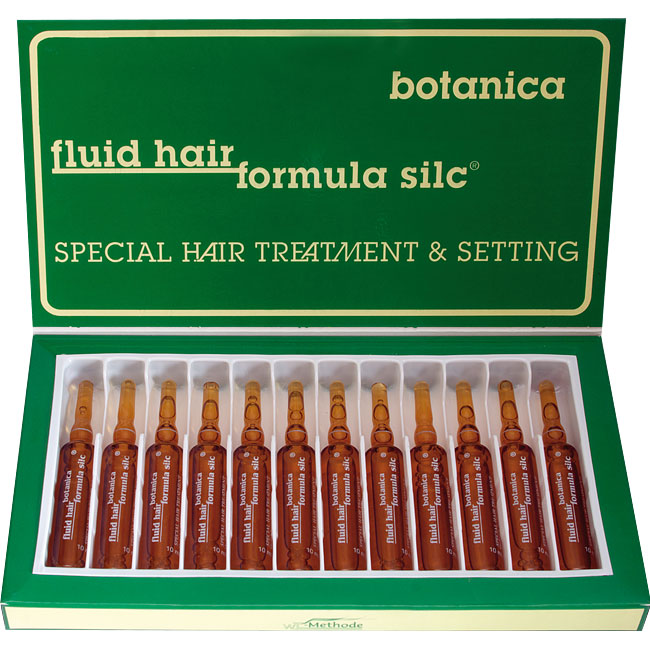 WT METHODE Флюид Хаир Формула Силк Ботаника, ампулы ( 5), 12х10млАмпулы<br>Препарат возвращает волосам силу, блеск, упругость и эластичность. Особенно рекомендуется: при поврежденных и пористых волосах, перед, во время и после всех видов окраски волос, перед химической завивкой в качестве предварительного лечения, после химической завивки, предотвращает статическое электричество в волосах, увеличивает блеск и яркость волос Состав: жасмин лекарственный, шиповник галлийский, можжевельник обыкновенный, лимон, Способ применения: Вымыть голову мягким шампунем, тщательно прополоскать и высушить полотенцем. Обломать горлышко ампулы по нанесенной маркировке и равномерно разбрызгать препарат из ампулы по волосам. Расчесать волосы плотной расческой и на 1-2 минуты завязать полотенцем. Не смывать. После этого работать с волосами как обычно, без применения средств для укладки. Внимание! Препарат не должен попадать в глаза. В случае попадания в глаза, промойте глаза чистой, прохладной водой.<br><br>Типы волос: Поврежденные
