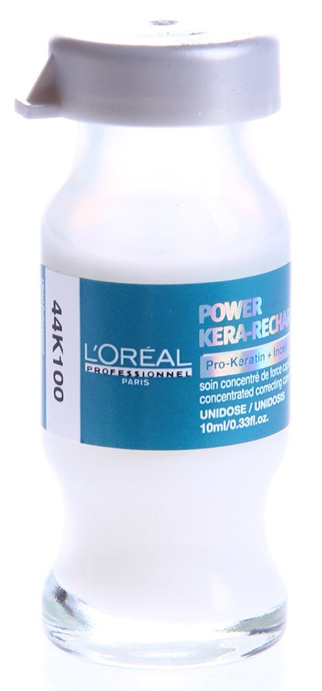 LOREAL PROFESSIONNEL Уход-монодоза для поврежденных волос / ПРО-КЕРАТИН РЕФИЛ 1*10млАмпулы<br>Концентрированная корректирующая монодоза Pro-Keratin Refill интенсивно укрепляет поврежденные участки волос. Питает и увлажняет волосы, обеспечивает им плотность и объем. Защищает волосы от воздействия УФ-излучения, вредных влияний внешней среды.  Активные ингредиенты: Pro-кератин, молекулы Incell, протеины пшеницы, аргинин, фруктовые экстракты.  Способ применения: Тщательно распределить по влажным волосам, оставить на несколько минут, тщательно смыть. Применять 1-2 раза в неделю. Также монодоза-ухода Лореаль Pro-Keratin Refill может использоваться в процессе проведения процедуры ламинирования с красителем Dialight.<br><br>Типы волос: Поврежденные