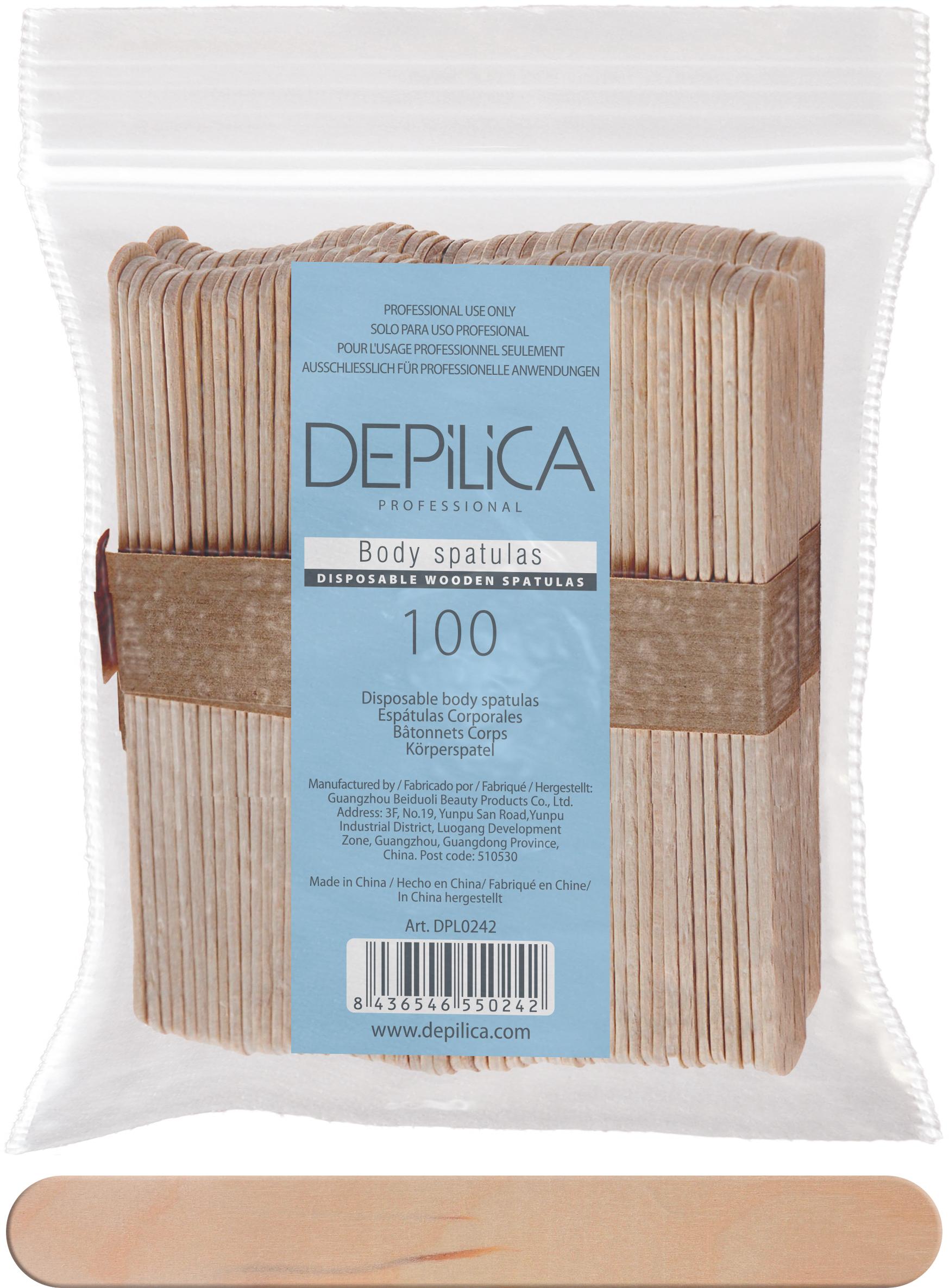 DEPILICA PROFESSIONAL Шпатели деревянные одноразовые для тела / Disposable Wooden body s patulas 100шт