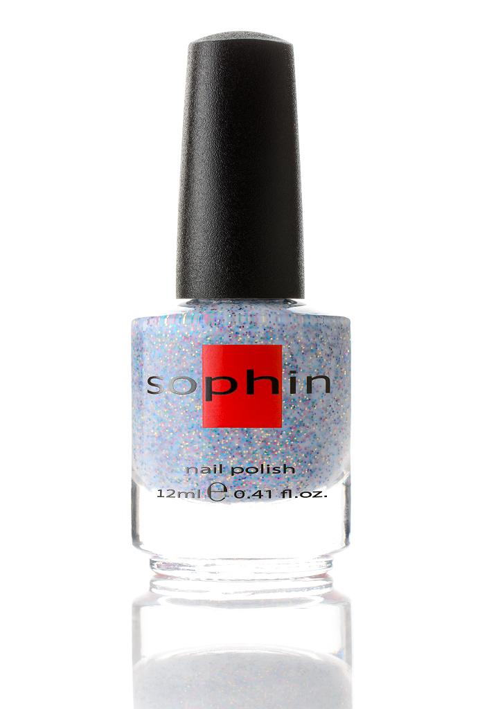 SOPHIN Лак для ногтей, бело-голубая желейная база с мелким разноцветным глиттером 12мл