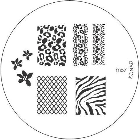 KONAD Форма печатная (диск с рисунками) / image plate M57 10грСтемпинг<br>Диск для стемпинга Конад М57 используется для нанесения ногти изображений с абстракциями. Несколько видов изображений, с помощью которых вы сможете создать великолепные рисунки на ногтях, которые очень сложно создать вручную. Активные ингредиенты: сталь. Способ применения: нанесите специальный лак&amp;nbsp;на рисунок, снимите излишки скрайпером, перенесите рисунок сначала на штампик, а затем на ноготь и Ваш дизайн готов! Не переставайте удивлять себя и близких красотой и оригинальностью своего маникюра!<br>