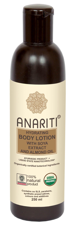 ANARITI Лосьон для тела увлажняющий с экстрактом сои и миндальным маслом 250 млЛосьоны<br>Лосьон для тела Anariti глубоко увлажняет кожу и поддерживает необходимый уровень увлажнения в течение дня. Разглаживает и подтягивает кожу, насыщает ее увлажняющими и питательными элементами, содержащимися в высококачественных растительных экстрактах и отборных натуральных маслах. Активные ингредиенты: экстракт алое вера, масло семян подсолнечника, воск гарцинии индийской, овощной глицерин, дериватив глицина сои,&amp;nbsp; экстракт цитрусовых, миндальное масло, бура, дериватив&amp;nbsp; молока, масло зародышей пшеницы, экстракт красного сандала, вода, &amp;nbsp;краситель   красный сандал, отдушка   миндаль и алое вера, натуральный консервант.&amp;nbsp; Способ применения:&amp;nbsp;нанесите достаточное количество увлажняющего крема Anariti на тело влажными руками. Аккуратно вотрите крем в кожу.<br><br>Объем: 250 мл<br>Вид средства для тела: Увлажняющий