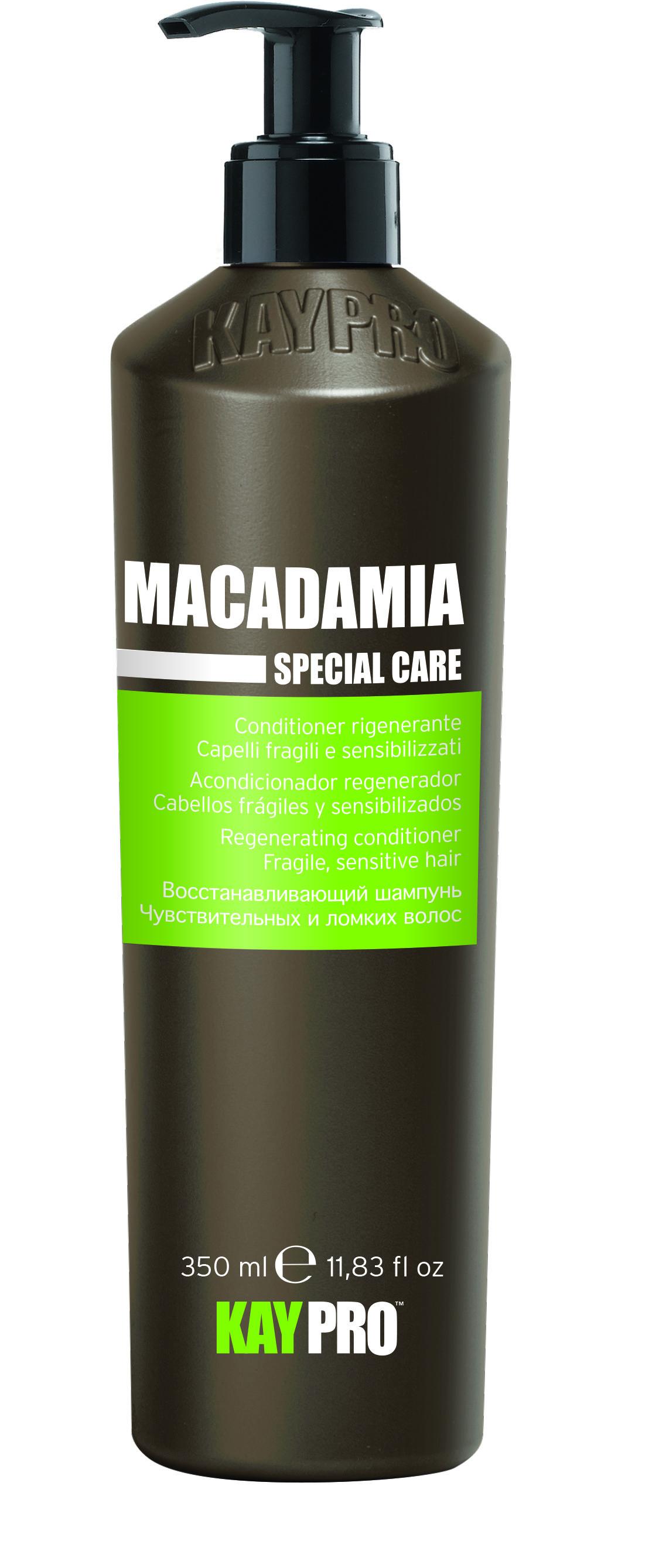 KAYPRO Кондиционер восстанавливающий с маслом макадами / KAYPRO 350млКондиционеры<br>Сбалансированная формула распутывает и смягчает без утяжеления, придавая моментальный блеск и жизненную силу. Активные ингредиенты: масло макадамии. Способ применения: после использования шампуня равномерно нанести на влажные волосы равномерно по всей длине, затем расчесать, оставить действовать на 2-3 минуты, после чего смыть водой.<br><br>Объем: 350 мл<br>Вид средства для волос: Восстанавливающий