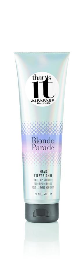 ALFAPARF MILANO Маска для всех оттенков блонд / THATS IT BLONDE PARADE MASK 150млМаски<br>Восстанавливающая маска для натуральных и окрашенных волос цвета блонд придает невероятную мягкость волосам, делая их максимально блестящими, а входящие в состав формулы церамиды питают и дарят волосам силу. НЕ СОДЕРЖИТ ПАРАБЕНОВ Способ применения: после использования шампуня нанести маску на влажные волосы, равномерно распределив по всей длине. Оставить на 3 минуты. Тщательно смыть водой. Подходит для частого использования.<br><br>Вид средства для волос: Восстанавливающий<br>Типы волос: Окрашенные