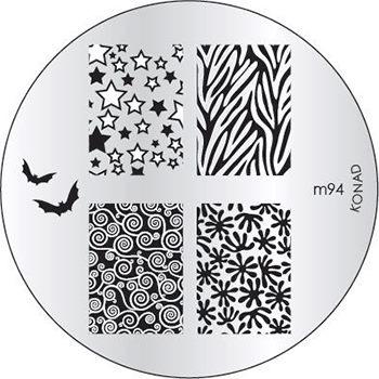 KONAD Форма печатная (диск с рисунками) / image plate M94 10грСтемпинг<br>Диск для стемпинга Конад М94 с летучими мышами, узорами из абстракций и звездочек. Несколько видов изображений, с помощью которых вы сможете создать великолепные рисунки на ногтях, которые очень сложно создать вручную. Активные ингредиенты: сталь. Способ применения: нанесите специальный лак&amp;nbsp;на рисунок, снимите излишки скрайпером, перенесите рисунок сначала на штампик, а затем на ноготь и Ваш дизайн готов! Не переставайте удивлять себя и близких красотой и оригинальностью своего маникюра!<br>