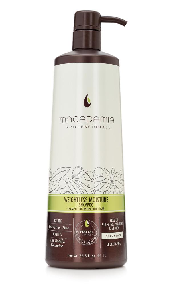 MACADAMIA PROFESSIONAL Шампунь увлажняющий для тонких волос / Weightless Moisture shampoo 1000млШампуни<br>Увлажняющий шампунь Macadamia Professional восстанавливает баланс влаги, придает плотность и объем даже самым тонким волосам. Содержит эксклюзивный PRO OIL COMPLEX с маслами макадамии и арганы, масла авокадо и лесного ореха, которые обеспечивают увлажнение и восстановление, увеличивают плотность тонких волос, питают кожу головы. Содержит UVA/UVB фильтры, сохраняет цвет окрашенных волос. Защищает от воздействия неблагоприятных факторов окружающей среды. Преимущества: Уплотнение и объем Невесомое увлажнение и укрепление Сохранение цвета окрашенных волос&amp;nbsp; Без сульфатов, парабенов и глютена Активные ингредиенты: Масло макадамии, Омега 7, 5 и 3 жирные кислоты обеспечивают увлажнение Масло арганы, Омега 9 жирные кислоты восстанавливают и укрепляют Масло авокадо питает волосы и кожу головы Масло грецкого ореха - питает волосы и кожу головы. Состав: Вода, У14-16 Олефин сульфонат натрия, Кокамидопропил Бетаин, Кокамид МоноЭтанолАмин, Изетионат натрия, Гликоль стеарат, отдушка,Масло макадамии, Аргановое масло, Масло Авокадо, Масло грецкого ореха, Гель Алоэ вера, Глицерин, Пантенол, Растворимый коллаген, Фосфолипиды, Ацетат Витамина Е, Ретинил пальмитат (витамин А), Аскорбил пальмитат, Натрия глицинат кокоил, Диоксид титана, Мика, Гуар гидроксипропилтримониум хлорид, ППГ-2 гидроксиетил коко/изостеарамид, Дисодиум ЕДТА, Кополимер гидролизованного белка пшеницы, Феноксиэтанол, Метилхлороизотиазолин, метилизотиазолинон, Лимонная кислота, Кватерниум-95, Пропандиол, Бензил Салицилат, Бутилфенил Метилпропионал, Гексил Циннамал, Линалоол Способ применения: нанесите небольшое количество шампуня на влажные волосы, вспеньте, распределите массажными движениями. Смойте. При необходимости, повторите.<br><br>Вид средства для волос: Увлажняющий