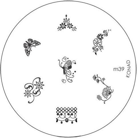 KONAD Форма печатная (диск с рисунками) / image plate M39 10грСтемпинг<br>Диск для стемпинга Конад М39 с цветами, узорами и бабочками. Несколько видов изображений, с помощью которых вы сможете создать великолепные рисунки на ногтях, которые очень сложно создать вручную. Активные ингредиенты: сталь. Способ применения: нанесите специальный лак&amp;nbsp;на рисунок, снимите излишки скрайпером, перенесите рисунок сначала на штампик, а затем на ноготь и Ваш дизайн готов! Не переставайте удивлять себя и близких красотой и оригинальностью своего маникюра!<br>