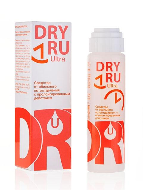 DRY RU Средство от обильного потоотделения с пролонгированным действием / DRY RU Ultra 50млОсобые средства<br>Средство Dry&amp;nbsp;Ru&amp;nbsp;Ultra надежно помогает при нормальном потоотделении, чрезмерном потоотделении (гипергидрозе), а также в стрессовых ситуациях. (Произведено в России). Преимущества: Эффективность и длительность действия. Устранение не только неприятного запаха пота, но и причины потоотделения. Универсальность (используется не только для подмышек, но и для ног и ладоней). Экономичность (один флакон ( в зависимости от вида продукции) используется от 8 до 10 месяцев). Обеспечение полного комфорта. Бесцветная жидкость, без парфюмерных отдушек и запаха. Активные ингредиенты. Состав:Alcohol Denat (80% об.), Aluminum Chloride Hexahydrate, Propylene Glycol. Способ применения: как правильно наносить DRY RU Light:&amp;nbsp;в средстве используется система Roll-on (шарик). Средство необходимо наносить за час до сна. Не рекомендуется наносить в течение 48 часов после удаления волос или бритья волос в местах нанесения средства. Вымойте и тщательно высушите кожу. Не наносите на раздраженную или поврежденную кожу. Нанесите средство и дайте коже высохнуть 2 - 3 минуты. Не мочите кожу до утра. По желанию, утром - обычные водные процедуры, так же можно пользоваться обычным дезодорантом с запахом, но необходимости в этом нет. При сильном потоотделении необходимо повторить процедуру два вечера подряд   для достижения максимального эффекта. Однако необходимо отметить, для того, чтобы DRY RU Light радовал своей эффективностью, результативностью, безопасностью и удобством применения долгие годы, рекомендуется делать короткий перерыв в использовании средства (например, по схеме год использования - месяц перерыва). Противопоказания: перед применением средства необходимо проконсультироваться с лечащим врачом лицам моложе 16 лет, а так же беременным и кормящим женщинам.<br><br>Объем: 50 мл<br>Назначение: Пот
