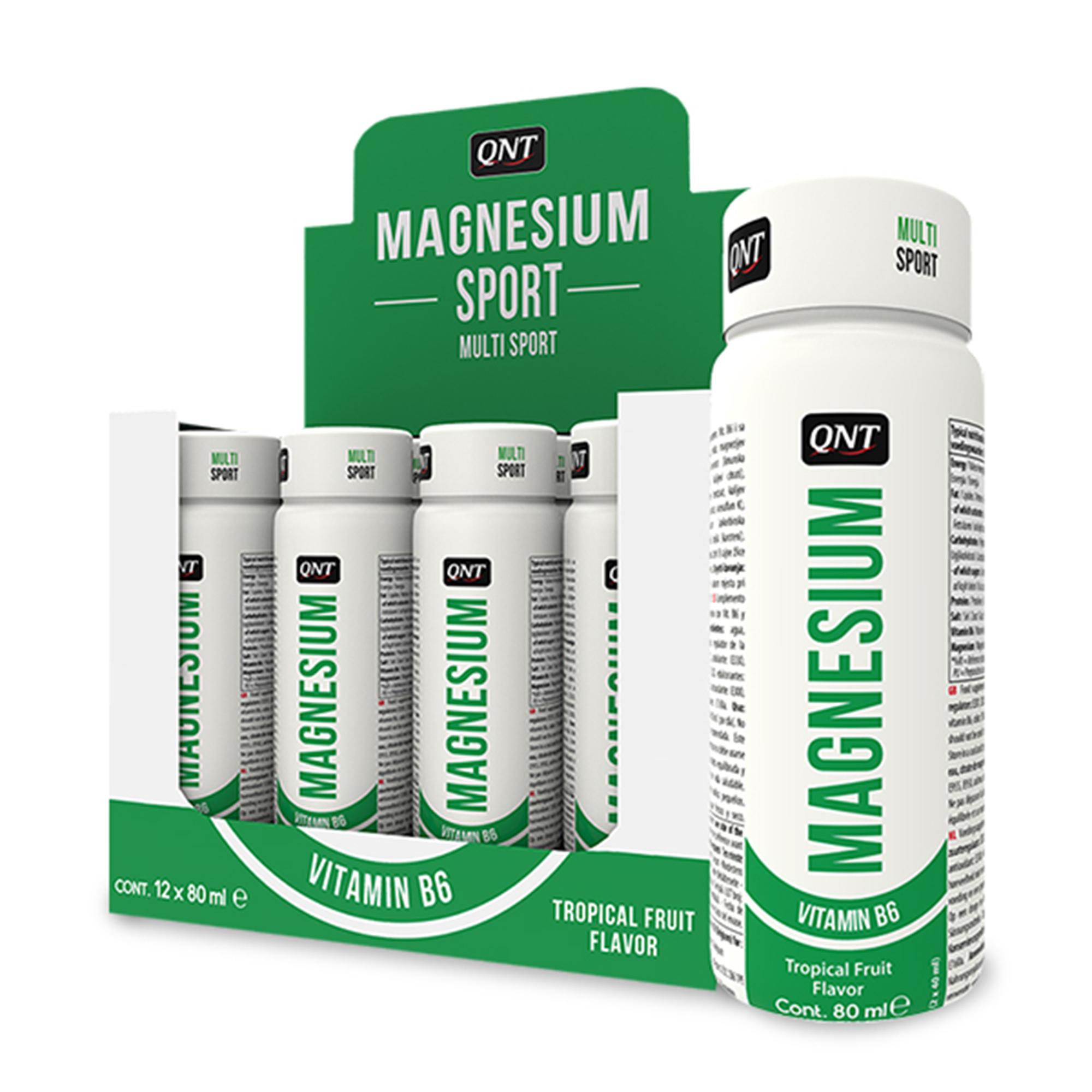 QNT Добавка биологически активная к пище Магний витамин В6, тропические фрукты / Magnesium Vitamin B6 Tropical Fruit flavor 12 х 80 мл