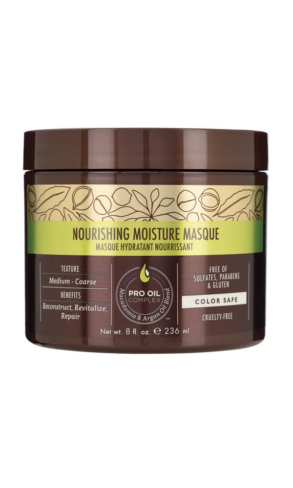 MACADAMIA PROFESSIONAL Маска питательная для всех типов волос / Nourishing Moisture masque 236млМаски<br>Глубокий увлажняющий, восстанавливающий и реконструирующий уход Macadamia Professional для нормальных и сухих волос, c эксклюзивным комплексом PRO OIL COMPLEX. Применение маски делает волосы шелковистыми, облегчает расчесывание, убирает излишнюю пушистость. Добавляет блеск и эластичность. Идеально для сухих, поврежденных, окрашенных волос. С длительным кондиционирующим эффектом. Преимущества: Реконструкция, оживление, восстановление Глубокое увлажнение Облегчение расчесывания, контроль пушистости Сохранение цвета окрашенных волос Без сульфатов, парабенов и глютена Активные ингредиенты: Масло макадамии, Омега 7, 5 и 3 жирные кислоты обеспечивают увлажнение Масло арганы, Омега 9 жирные кислоты восстанавливают и укрепляют Состав: Вода, Глицерин, Цетеариловый спирт, Циклопентасилоксан, Диметикон, Изопропил Пальмитат, Бехинтримониум хлорид, Метил Глюцет-20, Масло макадамии, отдушка, Аргановое масло, Масло грецкого ореха , Масло кокоса, Гидролизованный кератин, Гидролизованный коллаген, Гидроксиэтил целлюлоза, Ацетат Витамина Е, Ретинил пальмитат (витамин А), Бутилированный гидрокситолуол, Лимонная кислота, Изопропиловый спирт, Бутилен Гликоль, Феноксиэтанол, Этилгексилглицерин, Нитрат натрия, Глиоксаль, Сорбат Калия, бензиловый спирт, Бензоат Натрия, Бутилфенил Метилпропионал, бензил салицилат, Гексил Циннамал, Линалоол Способ применения: после применения шампуня нанести по всей длине подсушенных полотенцем волос. Прочесать и оставить для воздействия на 5-10 мин. Использовать 1-2 раза в неделю в зависимости от степени повреждения волос.<br><br>Вид средства для волос: Питательный<br>Типы волос: Для всех типов