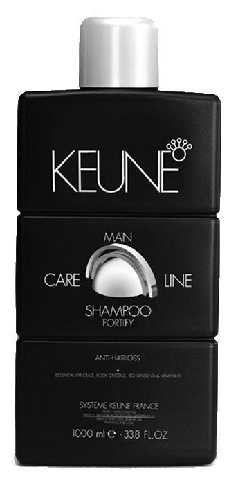 KEUNE Шампунь укрепляющий Кэе Лайн Мен / CL FORTIFY SHAMPOO 1000млВолосы<br>Укрепляющий шампунь разработан специально для мужчин. Активные компоненты шампуня интенсивно ухаживают за тонкими и ослабленными волосами. Входящий в состав шампуня экстракт корня женьшеня активизирует кровообращение, стимулируя тем самым рост волос. Природные минералы интенсивно питают волосы и кожу головы, а также сглаживают кутикулу волоса. Витамин Н активизирует выработку кератина, который способствует укреплению волос, а также уменьшает их потерю. Ментол обладает превосходными охлаждающими и стимулирующими свойствами. Регулярное использование укрепляющего шампуня от Keune поможет избавиться от проблемы выпадения волос, наполнит ваши волосы живительной силой, сделает их более сильными, упругими и блестящими. Активный состав: Природные минералы, экстракт корня женьшеня, горный хрусталь, витамин Н, ментол. Применение: Нанесите необходимое количество укрепляющего шампуня от на влажные волосы, вспеньте, помассируйте в течение 1-2 минут, после чего тщательно смойте водой.<br><br>Объем: 1000