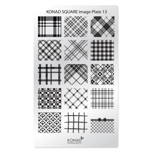 KONAD Пластина прямоугольная / Square Image Plate13 30грСтемпинг<br>Пластина для стемпинга Конад Square Plate 13 со стильными клетчатыми узорами в различных вариациях. Пластины для стемпинга также называют плитками. На них Вы найдете гораздо больше рисунков для ногтей, чем на обычных дисках. Размер каждого принта 23 х19 мм и поэтому вы можете наносить рисунок не только как он расположен на пластине, но и по диагонали, отлично подойдет как для коротких, так для длинных и широких ногтей и для педикюра Активные ингредиенты: сталь Способ применения: нанесите специальный лак&amp;nbsp;на рисунок, снимите излишки скрайпером, перенесите рисунок сначала на штампик, а затем на ноготь и Ваш дизайн готов! Не переставайте удивлять себя и близких красотой и оригинальностью своего маникюра!<br>