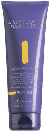 FARMAVITA Маска оттеночная blond / AMETHYSTE 250 млМаски<br>Blonde - добавит золотистого сияния светлым тонам и подчеркнет мелирование. Благодаря эксклюзивной формуле, способны поддерживать или кардинально изменять косметический цвет в течение нескольких минут. Обеспечивают волосы дополнительным интенсивным питанием, благодаря наличию в составе Арганового масла. После применения волосы обретают чрезвычайную мягкость и шелковистость. Amethyste Colouring mask идеально подходит для:   оживления и сохранения косметического цвета между посещениями салона красоты   используя маску на натуральные волосы, Вы получаете более глубокий оттенок и ювелирный блеск ПРЕИМУЩЕСТВА: 1.ДЕЛИКАТНОЕ ОТНОШЕНИЕ К ВОЛОСАМ: продукт не содержит аммиака и не смешивается с оксидантом; 2.СОХРАНЕНИЕ И УСИЛЕНИЕ КОСМЕТИЧЕСКОГО ЦВЕТА; 3.ЖИВЫЕ И БЛЕСТЯЩИЕ ВОЛОСЫ: спасибо аргановому маслу (состав которого богат Витамином Е, Омега-кислотами и натуральными Токоферолами) за ни с чем несравнимое увлажнение, омоложение и укрепление волос; 4.ОЧАРОВАТЕЛЬНЫЙ АРОМАТ: придает волосам изысканность, благодаря тонкому сочетанию ноток Жасмина и Китайского чая; 5.УДОБСТВО И ПРОСТОТА ИСПОЛЬЗОВАНИЯ Активные ингредиенты: система Omnia Color: Масло из семян пенника лугового - драгоценное масло, богато природными антиоксидантами и уникальным составом жирных кислот. Помогает сохранить интенсивность цвета и блеск волос. Исследования показали, что масло проникает в волокна волос, восстанавливая структуру и повышая его прочность. Пантенол - глубоко проникает в структуру и позволяет сбалансировать естественный уровень влаги в волосах. УФ-фильтр - защищает волосы от выгорания на солнце, вымывания красителя и потускнения цвета. Олигоминеральный комплекс - комплекс олигоэлементов (кремний, магний, медь, железо, цинк), которые глубоко проникают в волокна волос и помогают восстановить поврежденные участки. Способ применения: нанесите на волосы после применения шампуня или обычной питательной маски. Время выдержки от 5 до 15 минут в