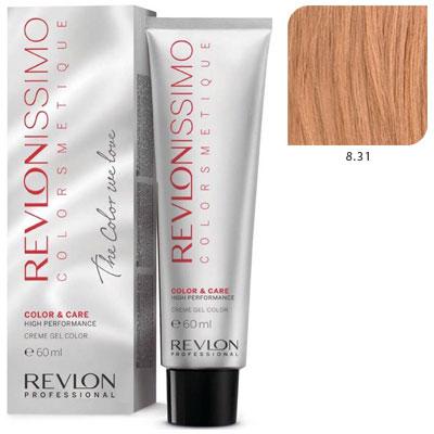 REVLON Professional 8.31 краска для волос, светлый блондин золотисто-пепельный / RP REVLONISSIMO COLORSMETIQUE 60 мл