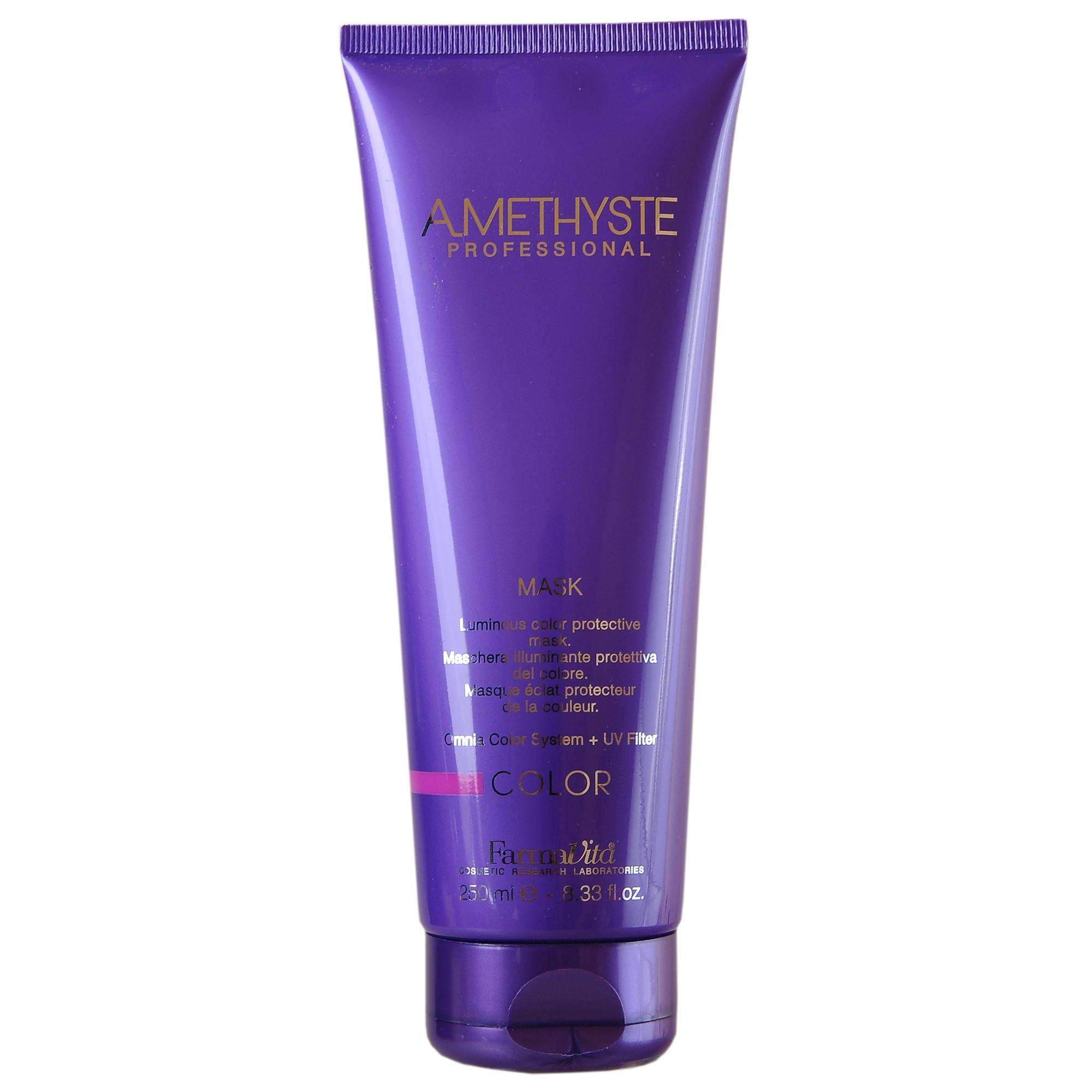FARMAVITA Маска д/ухода за окрашенными волосами Amethyste color mask / AMETHYSTE PROFESSIONAL 250 млМаски<br>Маска Amethyste Color для ухода за окрашенными волосами позволяет защитить их и сохранить насыщенность цвета. Волосы становятся блестящими, мягкими и легко расчесываются. Инновационная система Omnia Color заметно уменьшает вымывание косметического цвета, обеспечивает значительное увеличение прочности и увлажнения волос. Особая формула придает волосам силу и энергию, благодаря присутствию в составе олигоэлементов (кремний, магний, медь, железо, цинк), которые глубоко проникают в волокна волос, способствуя восстановлению поврежденных участков. Волосы выглядят блестящими, сильными и здоровыми. Активные ингредиенты: система Omnia Color: Масло из семян пенника лугового - драгоценное масло, богато природными антиоксидантами и уникальным составом жирных кислот. Помогает сохранить интенсивность цвета и блеск волос. Исследования показали, что масло проникает в волокна волос, восстанавливая структуру и повышая его прочность. Пантенол - глубоко проникает в структуру и позволяет сбалансировать естественный уровень влаги в волосах. УФ-фильтр - защищает волосы от выгорания на солнце, вымывания красителя и потускнения цвета. Олигоминеральный комплекс - комплекс олигоэлементов (кремний, магний, медь, железо, цинк), которые глубоко проникают в волокна волос и помогают восстановить поврежденные участки. Способ применения:после применения шампуня нанести маску Amethyste Color на чистые, влажные, подсушенные полотенцем волосы, равномерно распределить по длине. Для лучшего распределения по волосам можно расчесать волосы широким гребнем. Выдержать 2-3 минуты. Смыть. Приступить к укладке. Для достижения максимального эффекта рекомендуется применять вместе с шампунем Amethyste Color и лосьоном Amethyste Color Re-Vital.<br><br>Объем: 250 мл<br>Класс косметики: Косметическая