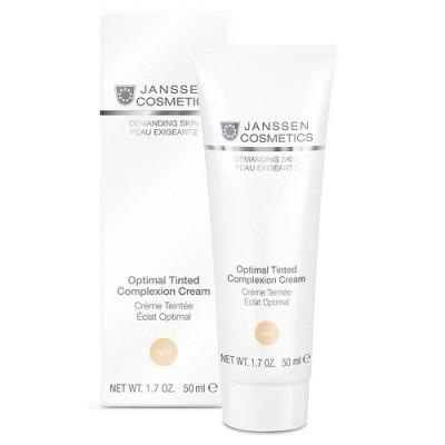 JANSSEN Крем дневной Оптимал Комплекс / Optimal Tinted Complexion Cream Light 50млКремы<br>Идеальный, мягко выравнивающий тон и структуру кожи крем для ежедневного утреннего ухода. Защищает кожу на протяжении всего дня от влияния внешних негативных факторов (ветер, солнце, пыль, загрязнения) заметно уменьшает выраженность морщинок. Крем подходит для кожи любого тона. Результат: эффективно и пролонгированно увлажняет кожу, питает, легкий тонирующий эффект придает коже свежесть. Активные ингредиенты: тонирующие пигменты, сахариды, витамин Е, UVA- и UVB-фильтры. Способ применения: равномерно нанесите Optimal Tinted Complexion Cream на предварительно очищенную кожу лица, включая область вокруг глаз. В салоне применяется как финальный крем.Равномерно нанесите Optimal Tinted Complexion Cream на предварительно очищенную кожу лица, включая область вокруг глаз. В салоне применяется как финальный крем.<br><br>Объем: 50 мл<br>Время применения: Дневной