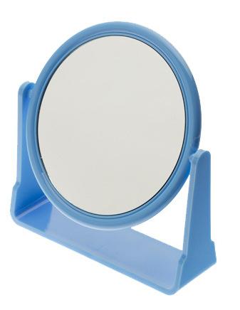 DEWAL BEAUTY Зеркало настольное, в оправе синего цвета, на пластиковой подставке 175x160х10 мм