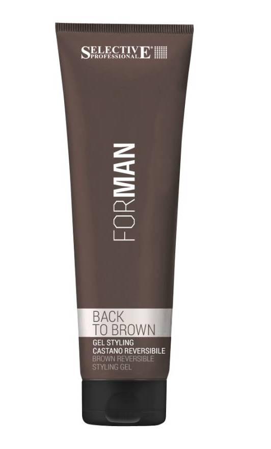 SELECTIVE PROFESSIONAL Гель для укладки волос со смываемым каштановым пигментом / Back to brown FOR MAN 150млВолосы<br>Гель для укладки For Man Back to Brown предназначен для укладки волос с признаками седины. Тонирует пряди, обладает освежающим и защитным действием. Инновационная формула способствует надежной фиксации укладки любой сложности и сохранению ее формы в течение всего дня, а также помогает скрыть проявления седины. Комплекс активных компонентов, входящий в состав геля для укладки Selective, создает на поверхности каждого волоса невидимую пленку, обеспечивающую надежную защиту от негативного воздействия солнечных лучей, ветра и морской соли. Допускается ежедневное или периодическое использование. Обеспечивает сильную степень фиксации прически (уровень 6-7). Тонирует пряди волос в желаемый оттенок. Дарит ощущение свежести и прохлады. Защищает цвет от вымывания и обеспечивает длительное сохранение первоначального оттенка после процедуры окрашивания. Защищает волосяную кутикулу от вредного воздействия UVA и UVB-лучей. Активные ингредиенты: гуарановое масло, акриловые кополимеры, касторовое масло, лимонен, глицерин, UV-фильтры. Способ применения: разотрите в ладонях необходимое количество геля для укладки Selective For Man Back to Brown и нанесите его руками на сухие или слегка увлажненные волосы, после чего сформируйте желаемую прическу.<br><br>Пол: Мужской