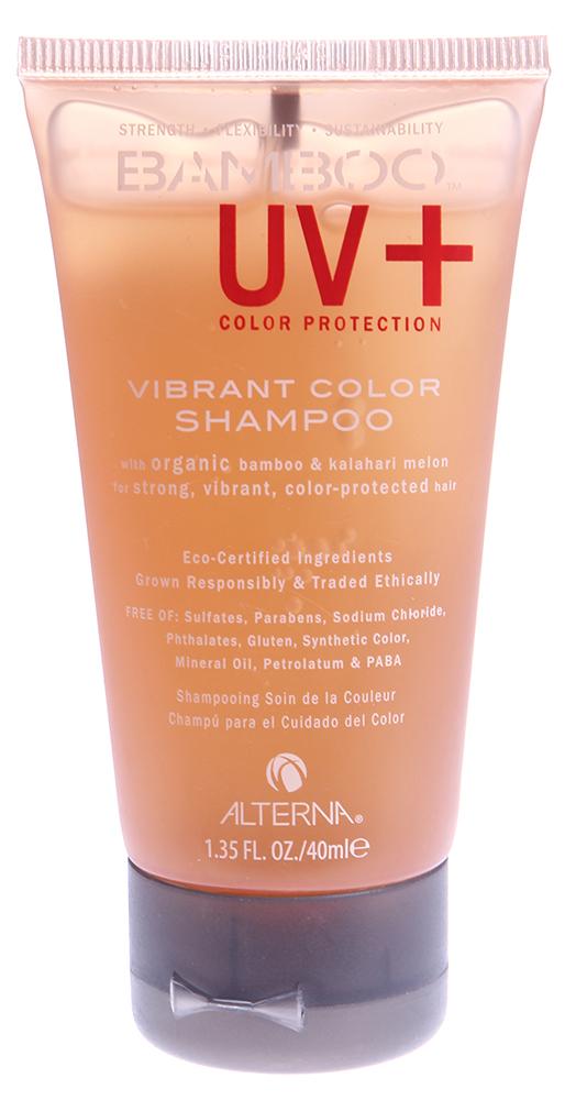 ALTERNA Шампунь для ухода за цветом / BAMBOO COLOR CARE UV+ 40млШампуни<br>Беcсульфатный шампунь для окрашенных и поврежденных волос придает волосам мягкость, эластичность и невероятный блеск. Способствует эффективной защите цвета от вымывания. Содержит технологию Color Hold, экстракты бамбука и калахарской дыни. Активные ингредиенты: экстракты бамбука, калахарской дыни. Способ применения: нанести на влажные волосы и кожу головы и слегка промассировать, затем тщательно смыть водой.<br>