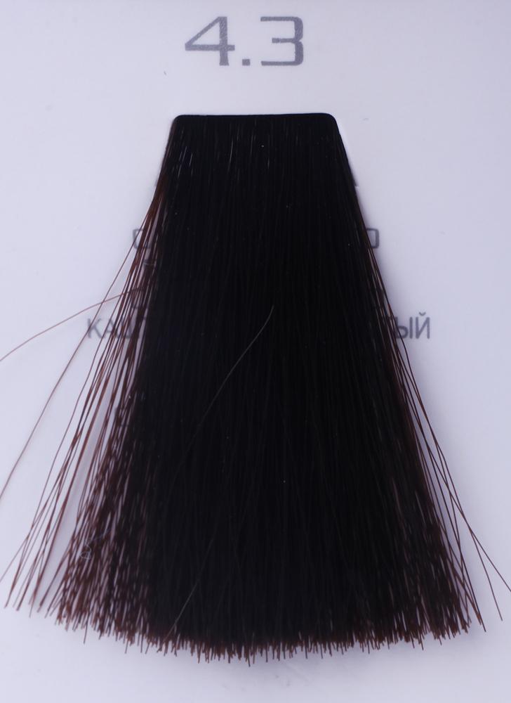 HAIR COMPANY 4.3 краска для волос / HAIR LIGHT CREMA COLORANTE 100млКраски<br>4.3 каштановый золотистыйHair Light Crema Colorante   профессиональный перманентный краситель для волос, содержащий в своем составе натуральные ингредиенты и в особенности эксклюзивный мультивитаминный восстанавливающий комплекс. Минимальное количество аммиака позволяет максимально бережно относится к структуре волоса во время окрашивания. Содержит в себе растительные экстракты вытяжку из арахиса, лецитин, витамин А и Е, а так же витамин С который является природным консервантом цвета. Применение исключительно активных ингредиентов и пигментов высокого качества гарантируют получение однородного, насыщенного, интенсивного и искрящегося оттенка. Великолепно дает возможность на 100% закрасить даже стекловидную седину. Наличие 6-ти микстонов, а так же нейтрального бесцветного микстона, позволяет достигать получения цветов и оттенков. Способ применения: смешать Hair Light Crema Colorante с Hair Light Emulsione Ossidante в пропорции 1:1,5. Время воздействия 30-45 мин.<br><br>Цвет: Бежевый и коричневый<br>Вид средства для волос: Восстанавливающий<br>Класс косметики: Профессиональная