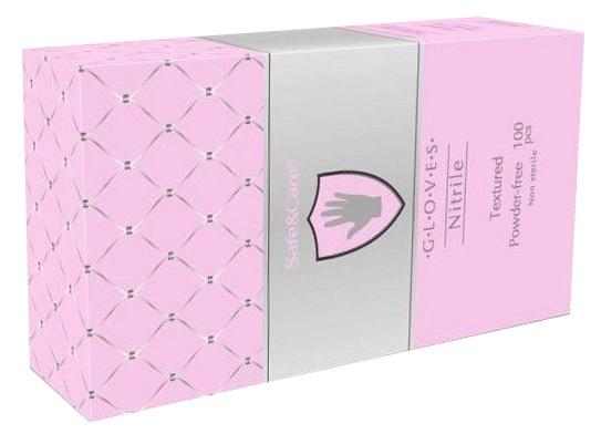 Купить SAFE & CARE Перчатки нитриловые, перламутровые розовые, размер М / Safe & Care 100 шт