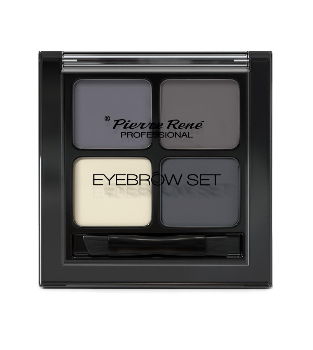 PIERRE RENE PROFESSIONAL Палетка для бровей 02 (тени 3 шт, воск для фиксации) / Eyebrow set
