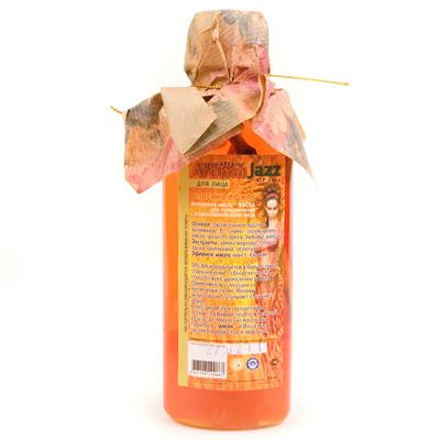 AROMA JAZZ Масло массажное жидкое для лица Огненный джаз 200млМасла<br>Увлажняет, разглаживает кожу, придает ей сияние и упругость, обновляет клетки и заживляет рубцы. Масло восстанавливает защитные функции кожи, усиливает липидный и клеточный обмен, укрепляет соединительные ткани и предотвращает воспалительные процессы.  Огненный джаз  - идеальная защита для сухой, утратившей эластичность кожи. Легкий аппетитный аромат подарит ощущение внутреннего комфорта. Почувствуйте себя героиней восточной сказки. То, чем мажут ваше лицо   вовсе и не масло, это живая вода. Вы молоды и полны сил, теперь так будет всегда! Активные ингредиенты: масла оливы, грецкого ореха, пальмы, кокоса, растительное с витамином Е; экстракты семян моркови, шиповника, облепихи, грецкого ореха; каротин, фруктовые эссенции винограда; серум арганы. Способ применения: в качестве маски нанести на кожу лица на 30-40 минут, смыть водой. Процедуру можно дополнить массажем.<br><br>Объем: 200<br>Вид средства для лица: Массажное<br>Типы кожи: Чувствительная