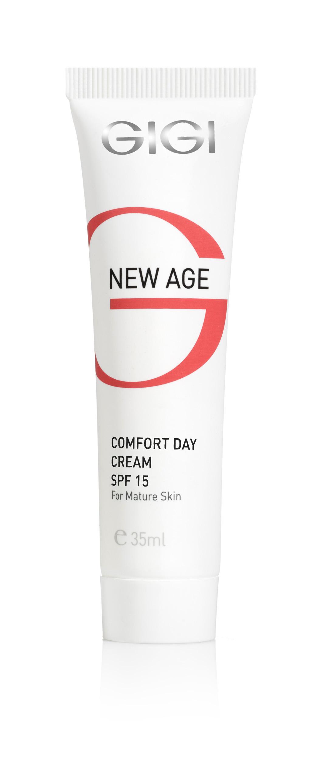 GIGI Крем-комфорт дневной SPF15 (миниатюра) / Comfort Day Cream NEW AGE 35млКремы<br>Представляет собой идеальное средство от морщин даже для самой чувствительной кожи, вызывает чувство комфорта и придает коже здоровый вид. Содержит концентрированные увлажняющие вещества и солнцезащитные фильтры. Действие: Обеспечивает коже нормальную влажность на 24 часа, и одновременно защищает от атмосферных явлений, вредного воздействия различных излучающих источников и фотостарения кожи. Результаты воздействия крема на кожу совершенно очевидны и стабильны. Эффект молодой кожи: крем стимулирует жизнедеятельность живых слоев эпидермиса, замедляющихся с возрастом, крем увлажняет и подтягивает кожу, придает чертам лица четкость, омолаживает его, разглаживает морщины, осветляет пятна. Активные ингредиенты: Экстракт зародышей сои, сквален, лецитин, молочная кислота, мочевина, аллантоин, полисахариды, аланин, гидролизированный соевый протеин масло Ши, витамин Е. Способ применения: Наносить каждое утро на тщательно очищенное лицо, массировать кожу кончиками пальцев до полного впитывания. Идеальная основа под макияж.<br><br>Объем: 35<br>Назначение: Морщины<br>Время применения: Дневной