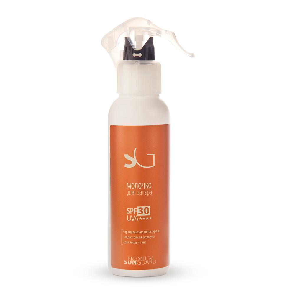 PREMIUM Молочко для загара SPF30 / Sunguard 150млМолочко<br>Профессиональный препарат для комплексного предохранения кожи лица и тела от UV-лучей спектра А и В во время принятия солнечных ванн. Содержит органические и физические фотофильтры, а также растительные экстракты, обладающие солнцезащитным действием. Создан на основе множественной эмульсии, обеспечивающей высокую эффективность работы солнцезащитного средтва и отличные потребительские характеристики (равномерное и комфортное распределение на коже). При нанесении не создает эффекта белой маски. Надежно защищает кожу от ультрафиолетовых лучей А и В, предохраняя ее от ожогов и фотостарения. Снижает трансэпидермальную потерю влаги. Предохраняет чувствительную кожу от раздражения. Рекомендуется для ежедневного использования в период активной инсоляции для получения безопасного загара, ежедневной фотозащиты. Защита кожи лица и тела от воздействия УФ-лучей во время пребывания на открытом солнце (пляж, прогулки, активный отдых и т.д). Также может применяться для этапа защиты в программах ухода за кожей тела, а также при проведении биоэпиляции. Активные ингредиенты: UVA- и UVB-фильтры, витамины: А, Е, экстракты: гинкго-билоба, ромашки, календулы, гель алоэ вера. Состав: вода очищенная, фенилбензимидазол сульфоновая кислота, D.C. HWM 2220  (дивинилдиметикон/ диметикон сополимер, С12-С13 парет-3, С12-С13 парет-23), триэтаноламин, ПЭГ-40 гидрогенизированного касторового масла, октокрилен, глицерин, бутиленгликоль дикаприлат/дикапрат, бутил метоксидибензоилметан, циклопентасилоксан и циклогексасилоксан, титана диоксид, кремния диоксид, циклопентасилоксан и ПЭГ/ППГ-18/18 диметикон, пропиленгликоль, экстракт гинкго билоба, алоэ вера гель, экстракт ромашки, экстракт календулы, полиглицерил-2 диполигидроксистеарат, диазолидинилмочевина, токоферил ацетат, ксантановая смола, отдушка, натрия хлорид, метилпарабен, ретинил пальмитат, пропилпарабен. Способ применения: за 10 минут до выхода на улицу распылить на кожу лица и открыты
