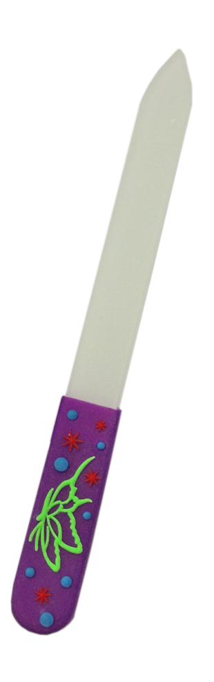 DEWAL BEAUTY Пилка для ногтей, стеклянная с силиконовой ручкой 14 см